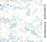 seamless vector herbal pattern. ... | Shutterstock .eps vector #619146572