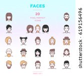 faces outline icon set of 20...