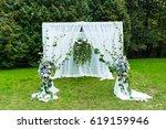 wedding ceremony decorations ... | Shutterstock . vector #619159946
