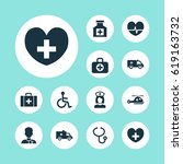 medicine icons set. collection... | Shutterstock .eps vector #619163732