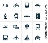 transportation icons set.... | Shutterstock .eps vector #619166996