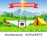 black camping pot over a... | Shutterstock .eps vector #619169672