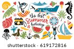 summer icons set. hand drawn... | Shutterstock .eps vector #619172816