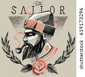 hipster sailor | Shutterstock .eps vector #619173296