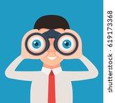 businessman looking through... | Shutterstock .eps vector #619173368