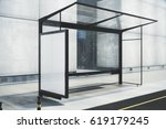 modern bus stop with blank... | Shutterstock . vector #619179245