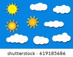 set sun and clouds icon vector...