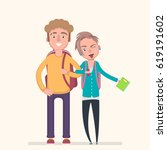 young students together. vector ... | Shutterstock .eps vector #619191602