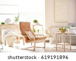 modern interior of cozy living... | Shutterstock . vector #619191896