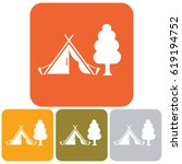 stylized icon of tourist tent.... | Shutterstock .eps vector #619194752