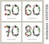 flowers numbers cards set.... | Shutterstock . vector #619197338