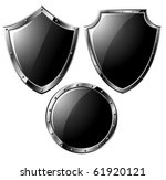 set of black steel shields  ...