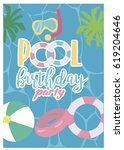 pool party invitation template... | Shutterstock .eps vector #619204646