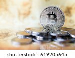 silver bitcoin with reflex and... | Shutterstock . vector #619205645