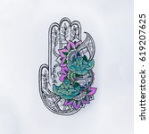 sketch of hamsa with patterns... | Shutterstock . vector #619207625