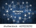 cyber security network concept. ... | Shutterstock . vector #619223252