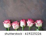 Stock photo frame with pink roses pink roses background mothers day floral background 619225226
