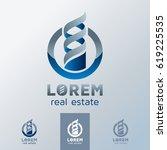 real estate emblem  3d logo for ... | Shutterstock .eps vector #619225535