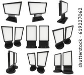 lcd screen stand set. blank... | Shutterstock . vector #619227062