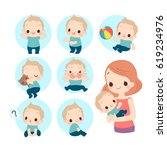mom and baby. toddler expression   Shutterstock .eps vector #619234976