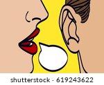 woman lips whispering in mans... | Shutterstock .eps vector #619243622