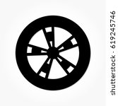 flat black wheel and tire with... | Shutterstock .eps vector #619245746