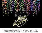 birthday greeting card with... | Shutterstock . vector #619251866