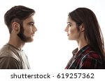 side view. man and woman facing ... | Shutterstock . vector #619257362
