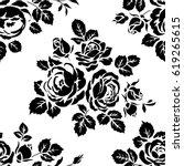 monochrome seamless pattern... | Shutterstock .eps vector #619265615