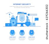 internet security concept flat... | Shutterstock .eps vector #619266302