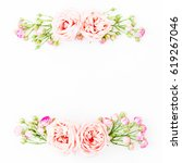 Stock photo frame with pink roses and buds on white background flat lay top view floral background 619267046