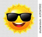 yellow sun with sunglasses    Shutterstock . vector #619269302