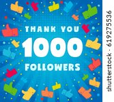1000 followers vector... | Shutterstock .eps vector #619275536