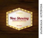 retro light sign on wooden... | Shutterstock .eps vector #619284266