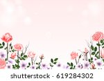 greeting card with roses. can... | Shutterstock .eps vector #619284302