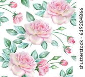 seamless floral pattern with... | Shutterstock . vector #619284866