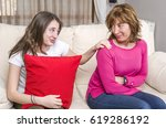 mother and teenager in the... | Shutterstock . vector #619286192