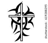 cross tattoo tribal design.... | Shutterstock .eps vector #619288295