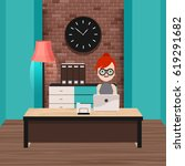workplace of administrator or... | Shutterstock .eps vector #619291682