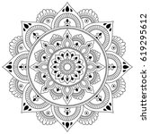 henna tatoo mandala. mehndi... | Shutterstock .eps vector #619295612