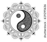 vector henna tatoo mandala. yin ... | Shutterstock .eps vector #619295636