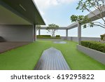 sky garden on rooftop of... | Shutterstock . vector #619295822