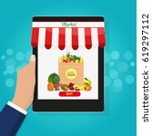 online food shopping ... | Shutterstock .eps vector #619297112