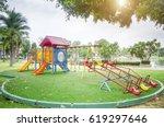 colorful children playground on ... | Shutterstock . vector #619297646