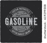 Stock vector vintage label design with lettering composition on dark background 619299308