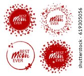 best mom ever stamp with hearts.... | Shutterstock .eps vector #619305056
