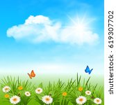 spring background with daisy ... | Shutterstock .eps vector #619307702