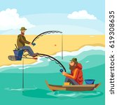 flat fisherman hat sits on boat ... | Shutterstock .eps vector #619308635