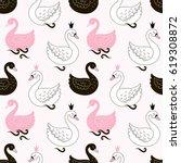 princess swan seamless pattern | Shutterstock .eps vector #619308872