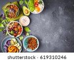 mixed healthy vegetarian salads ... | Shutterstock . vector #619310246